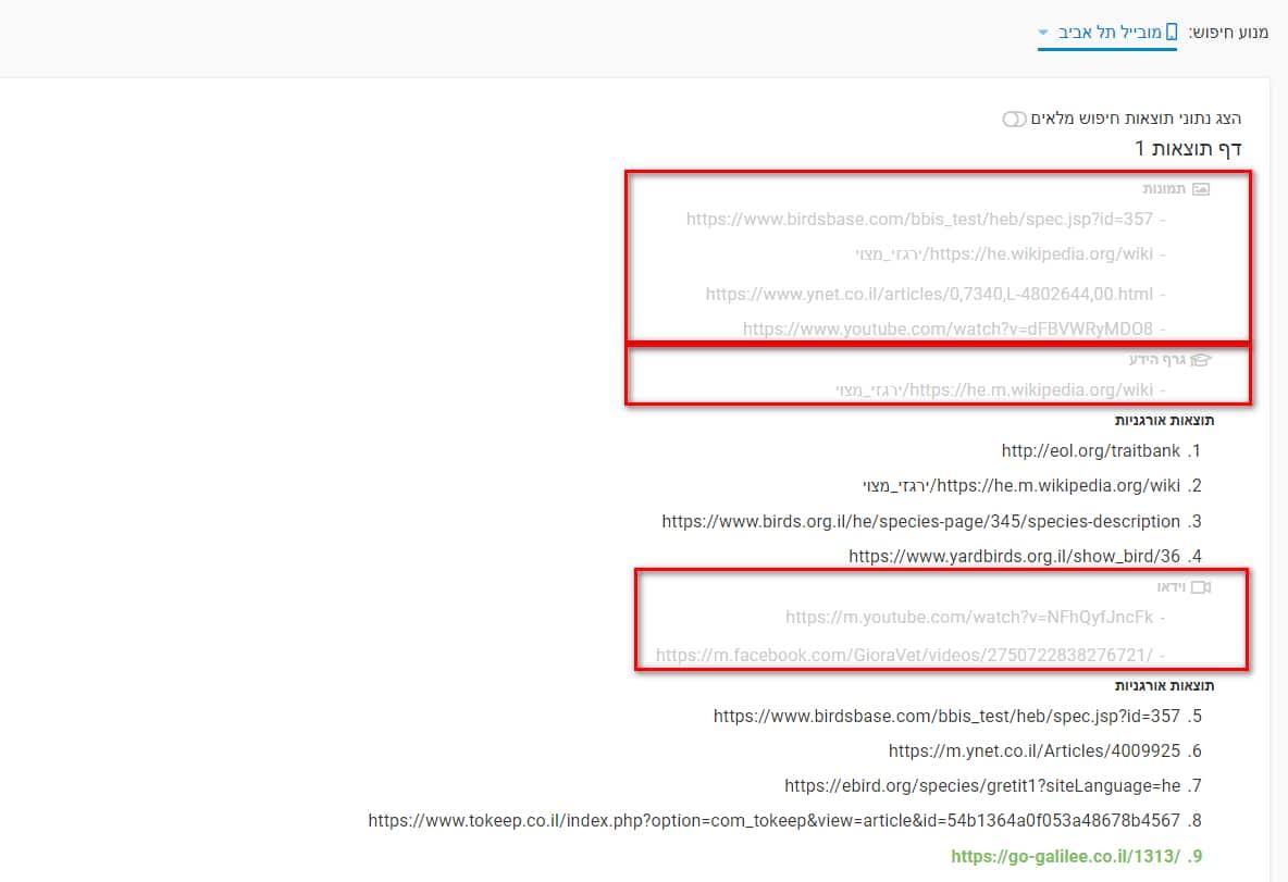מטמון התוצאות דירוגי האתר